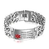 Grand Made Bracciale personalizzato Nome Bracciale acciaio inossidabile con bracciale inciso Bracciale personalizzato Nome Bracciale emergenza Bracciale per donna (Cross Design, acciaio inossidabile)