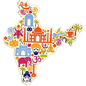 Skywalk Souvenir Map of India Wooden Fridge Magnet (Multicolour)