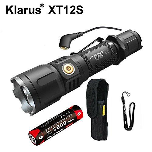 Klarus xt12s Mini Tactical CREE xph35Hi D4LED Taschenlampe 1318FT 1600LM Dual Schalter wasserdicht Taschenlampe enthalten 3600mAh wiederaufladbar 18650Akku Magnetischer Lade (Feder-clip-holster)
