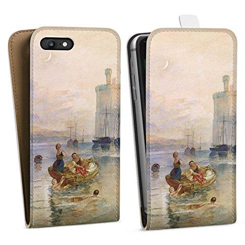 Apple iPhone X Silikon Hülle Case Schutzhülle Carnarvon Castle Wales Kunst Downflip Tasche weiß