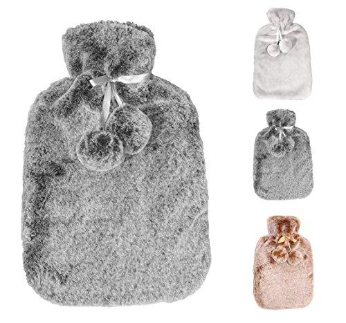Wärmflasche mit dicken, cashmereweichen, luxuriösen Bezug | 2 Liter Fassungsvermögen | Flauschig, zarte Wärmflasche | Geprüft und frei von Schadstoffen | von Soft & Cosy (Dark Silver Grey)