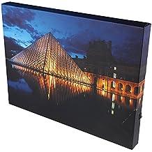 Cuadro para la pared con luces LED - Lienzo con marco de madera - Louvre de París por la noche - 40 x 29,85 cm