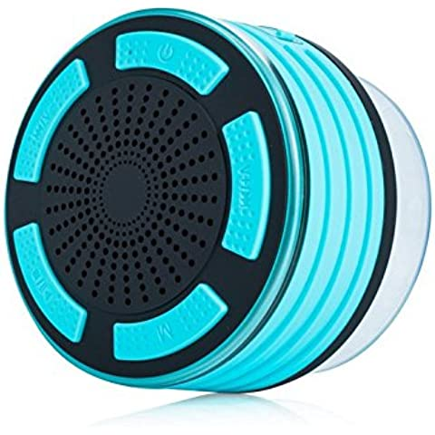 Ducha Altavoz,SURPHY Bluetooth impermeable IP67 SURPHY, 4.0 altavoz portátil inalámbrico Bluetooth con reproductor de MP3, radio FM, a prueba de agua, a prueba de golpes, manos libres, funciones múltiples de luz LED de color Manos libres Talk, batería recargable, fuerte