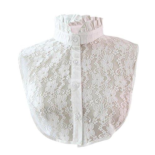 Damen Kragen Puppe Abnehmbare Kragen Shirt Bluse Spitze Floral False Kragen Kanpola (M, Weiß Z1) (Floral Jean Manschette)