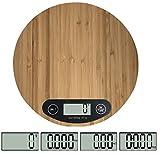 OSVINO Bambou Balance Cuisine Electronique Bois CE Pèse Aliment 5kg/1g Haute Précision g/LB oz Elégant pour Fruit Viande Spaghetti Restaurant Boulangerie, Ronde diamètre 20cm