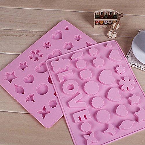 Schokolade Anzahl Formen (1Pcs Alphabet Buchstaben Anzahl Liebe Silikon Trays Schokolade Schimmel Cake Topper Fondant zufällige Farbe)