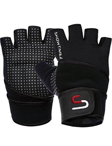 SHOWTIMEZ Trainingshandschuhe Fitness Handschuhe Grips für Gewichtheben - Schwarz/Silber - S