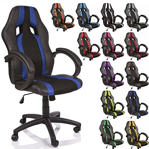 Zimmer Stuhl (DWD-Company Racing Chefsessel Bürostuhl Drehstuhl gestreift in 13 Farbvarianten, gepolsterte Armlehnen, Wippmechanik, Lift SGS geprüft (schwarz/blau))
