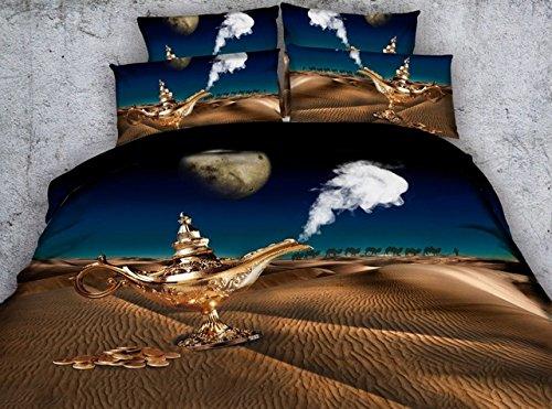 Kinder Cartoon Magische Lampe Desert Moon Drucken Bed Sheet Set 3 Stück Jungen Mädchen Kinder Steppdecke Bettdecke Bettdecken Bettwäsche 3D (Bettwäsche-set Desert)