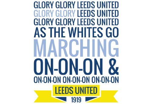 Price comparison product image Glory Glory Leeds United Wall Sticker Decal Football Art Print for Home Bedroom Mural (White)
