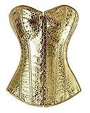 Frauen Leder Korsett Sexy Bustiers Röcke Kleider Tutu Schöne Kleidung, Gold