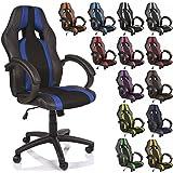 TRESKO® Chaise Fauteuil siège de bureau racing sport rayé ergonomique inclinable accoudoirs rembourrés, de 14 couleurs différentes, Lift SGS contrôlé (noir/bleu)