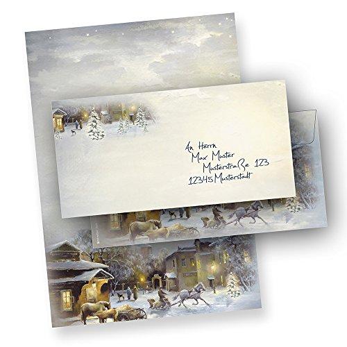 Briefpapier WINTER-AQUARELL (100 Sets mit Umschläge ohne Fenster)