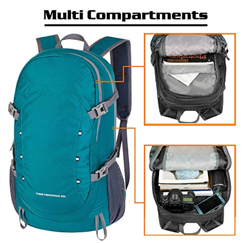MoHo Sports 40L Lightweight Packable Backpack, Durable Water Resistant Travel Hiking Camping Outdoor Foldable Daypack for Women Men (Green)