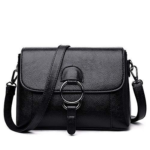 Women\'s Soft Leather Damentasche Schultertasche Messenger Bag Tote Black