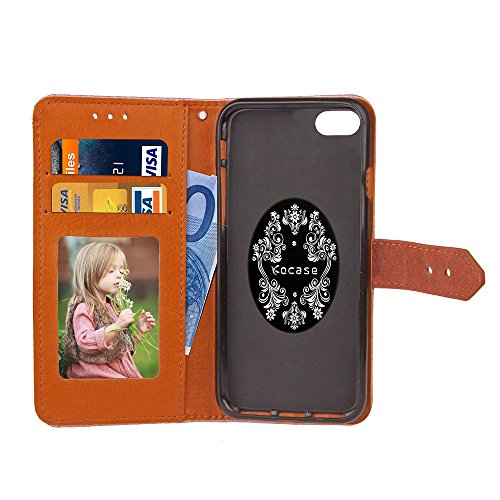 Für Apple IPhone 6 6s Fall European Mural Style geprägt Pressing Flower Pattern PU Leder Geldbörse Fall mit Halter & Foto Frame & Card Slots ( Color : Rose ) Black