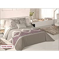Textilhome - Funda Nórdica ARIAN - Cama 150 - 240x260cm . Color Malva + 2 Fundas Cojín 60X60cm.