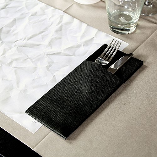 Duniletto Napkin Pockets Black 40 x 48cm - Pack of 50 - Slim Cutlery Holder