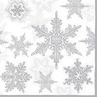 "WHITE SILVER GREY SNOWFLAKE CHRISTMAS EMBOSSED 13"" x 13"" 33CM X 33CM 20 X 3 PLY PAPER NAPKINS"