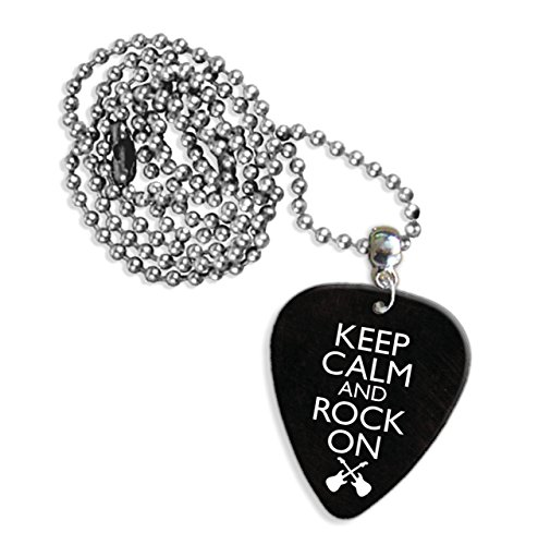 Keep Calm and Rock on Logo Gitarre Plektrum Kette (GD)