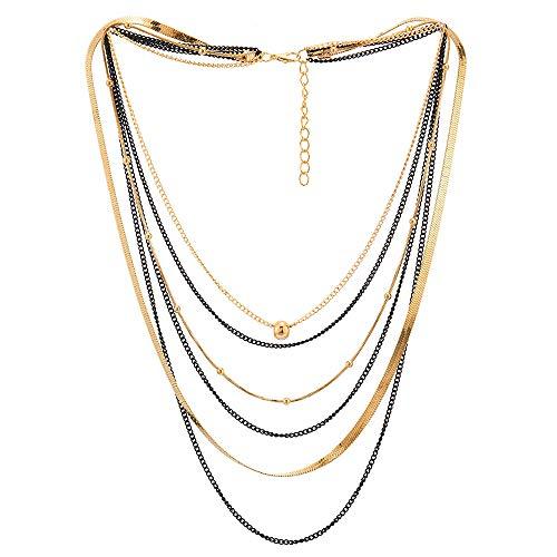Schwarz Gold Choker Kragen Halsband Statement Halskette Wasserfall Multi-Schichten Kette Ball Charme Anhänger Abendkleid (Charme-kette)