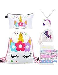 e88d8793f DRESHOW Pack de 4 Unicornios Mochila con cordón/Maquillaje Bolsa/Collar de  cadena de aleación/Fluffy Llavero colgante Llavero para…