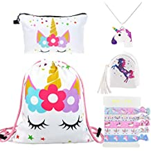 DRESHOW Pack de 4 Unicornios Mochila con cordón/Maquillaje Bolsa/Collar de cadena de
