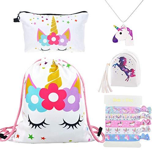 DRESHOW 5 Pack Cute Unicorn Kordelzug Rucksack/Make Up Bag/PU Geldbörse Clutch Taschen/Legierung...