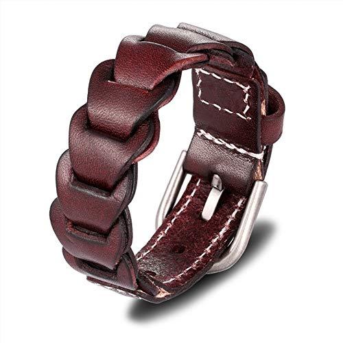 SHOUAQI lederarmband für männer Black Braid Woven Leather Bracelet Männer Frau Armbänder Armreifen Metallic-woven Leder