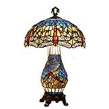 SHPEHP 16-Zoll große Tischlampe, Vintage nordischen mediterranen Tiffany-Stil Tischlampe Glasmalerei und Blaue Kristallperlen, Wohnzimmer, Couchtisch, Bücherregal, Blue