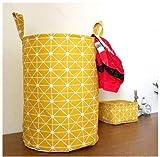 Mirayen Geometrisches Muster Baunwolle Wäschekorb Faltbar Wäschesammler Aufbewahrungskorb mit Griff Wäschetonne Spielzeug Aufbewahrung Aufbewahrungskorb Spielzeugskite (gelb)