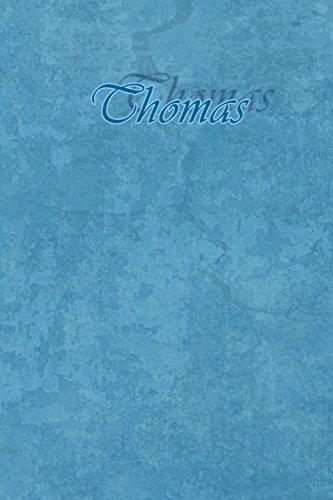 Thomas: Petit Journal personnel de 121 pages lignées avec couverture bleue avec un prénom d'homme (garçon) : Thomas