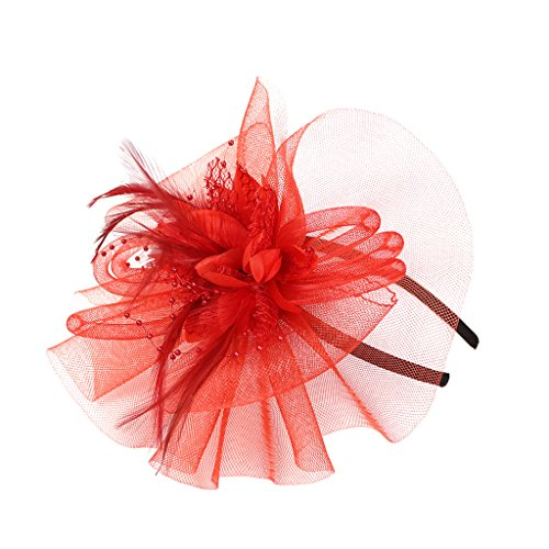 Gazechimp Feder Fascinator Hut Schleier Cocktail Party Schmuck - (Derby Hut Rot)