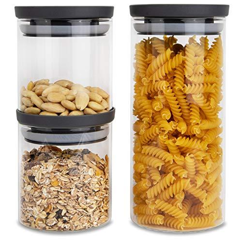 HATTY HAYS Vorratsgläser Glas | 3er-Set | 1,0 & 0,5 Liter | Vorratsbehälter luftdicht | BPA frei & spülmaschinengeeignet | modernes Küchen Design | Vorratsdosen Deckel anthrazit grau