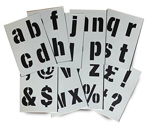 Sehr Große Alphabet Schablonen Buchstaben / Symbole 10 cm hoch MODERN kleinbuchstaben 9 x Blätter 29.5 x 20 cm (Symbol-schablone)