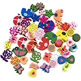 Satyam Kraft DIY Mix Design 50 pcs wooden Button scrapbook motives with 2 Holes Wooden Buttons for Sewing/ Crafting/button for kids/ art & Craft/Decoration/Stiching / buttons for crafts / button art / button art toys for kids / colourful buttons craft material