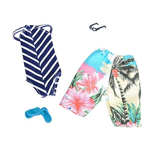 E-TING Outfit 2 sets Doll Accessories Bikini Swimsuit Bathing Suit Swimming Shorts Pack fit for Dolls (Swimming Strip BL & WH)(doll not include)