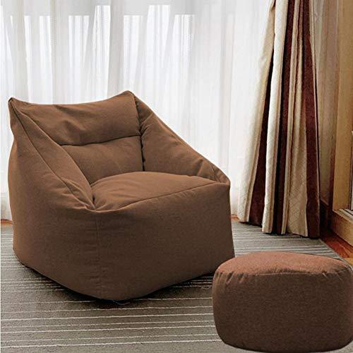 Stühle Möbel Sitzsack Und Osmanisches Set Liege Schlafsaal Liege Sofa Bett Zuhause, Büro Kinderzimmer ZX Haushalt Wohnen (Color : Brown, Size : Chair+Footstool) -