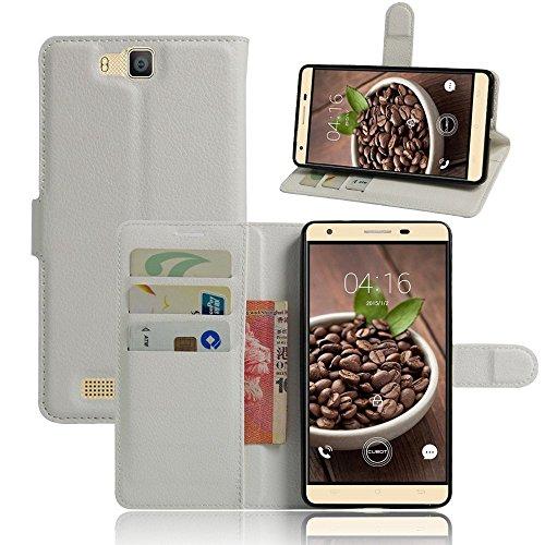 Tasche für Cubot H2 Hülle, Ycloud PU Ledertasche Flip Cover Wallet Case Handyhülle mit Stand Function Credit Card Slots Bookstyle Purse Design weiß