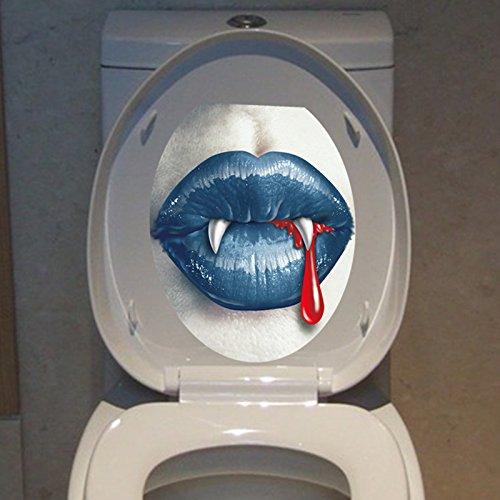 Kicode Lippenzahn Aufkleber Toilette PVC abnehmbare wasserdichte Home Room Wand Tür Dekoration Decals Dekor