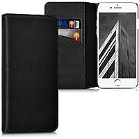 kalibri Hülle für Apple iPhone 7/8 - Wallet Case Handy Schutzhülle echtes Leder - Klapphülle Cover mit Kartenfach und Ständer Schwarz