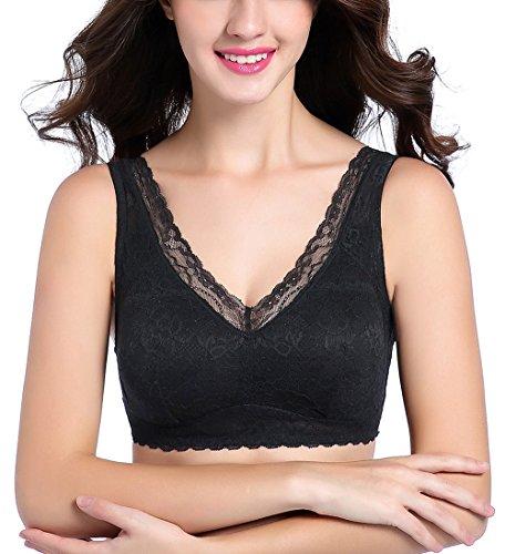 Intimate Portal Damen Ange BH ohne Bügel, mit Spitze und Floralem Design mit Taschen Schwarz 80C 85A 85B / Etikett 3L -