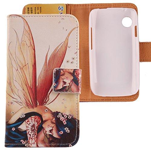 Lankashi PU Flip Leder Tasche Hülle Case Cover Schutz Handy Etui Skin Für Wiko Ozzy Wing Girl Design