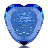 Liebesherz mit Gravur - exklusiver Herz Diamant - romantische Geschenkidee - Ideen mit Herz als Liebesbeweis zu Hochzeit, Jahrestag, Valentinstag - symbolische Geste für Sie + Ihn - mit Wunschgravur