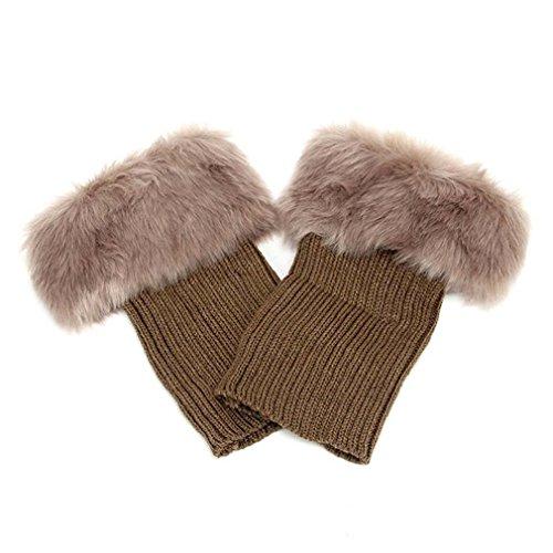 LnLyin 1 Paar Nachahmung Wolle Stiefel Sätze Gestrickten Wolle Warme Klappe Kunstleder Socken Sätze Kurzen Leggings Sets (Kurze Klappe)