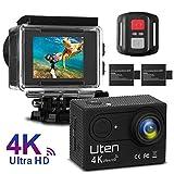 Action Camera 4K, Uten WiFi 16MP Videocamera Azione Sportiva Impermeabile 30M 170°Grandangolare, 2 Batterie(1050mAh/90min) e Telecomando Incluse con Vari Accessori