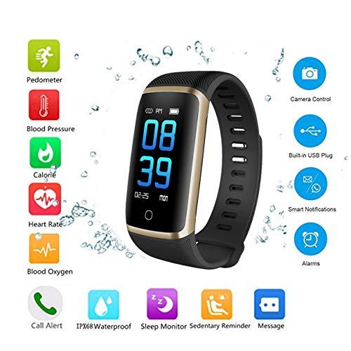 OOPPEN Activity Fitness Smartwatch Orologio da Polso Intelligente Braccialetto attività Ricaricabile IP68 Impermeabile con Cardiofrequenzimetro Pedometro Calorie e Sonno Tracker(Bordo Dorato)
