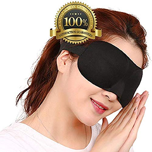 Drkao 2 Pack 3D Eye Mask with Ear Plugs Sleeping Mask Black Color Lightweight with Adjustable Strap - 3D Eye Mask for Sleeping for Man Eye Sleeping Mask for Sleeping for Woman