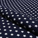 Stoff Meterware, Sterne 8 mm, Weiß auf Marine Blau,