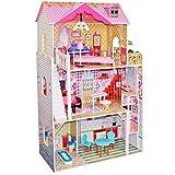 boppi® Casa delle bambole in legno per bambine a 3 piani, Villa di città + Accessori d'arredamento